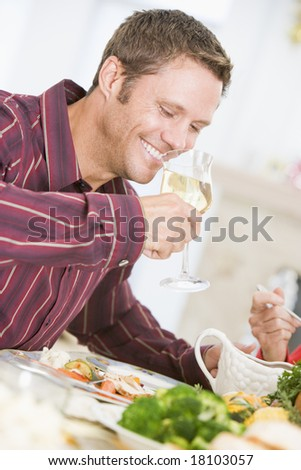 man eating christmas meal
