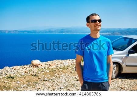 man enjoying freedom on travel - stock photo