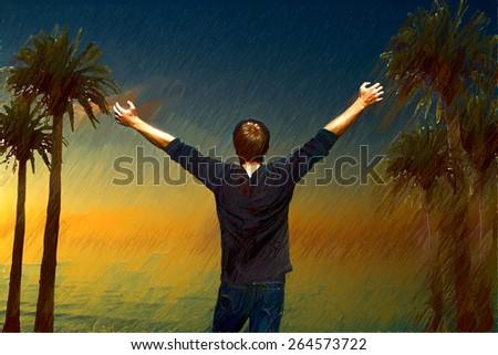 man enjoying life. sunset at sea. variety of colors and hues of the rising sun - stock photo