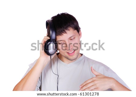 Man Enjoying Music isolated over white background