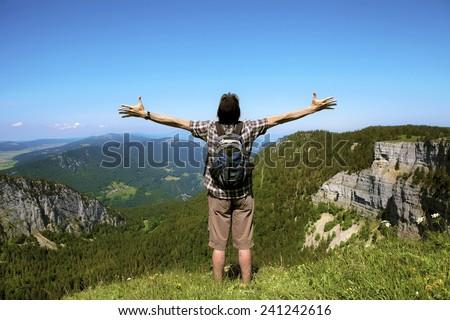 Man enjoying the Great Outdoors - stock photo