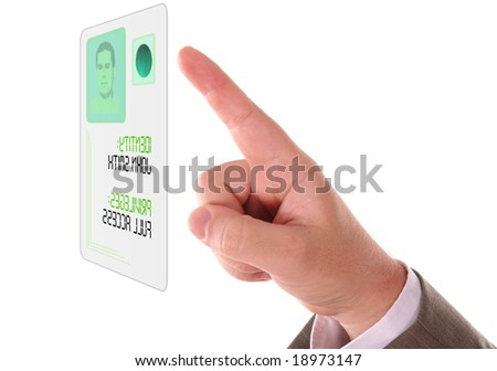 Man entering the door or secure data by touch screen - stock photo
