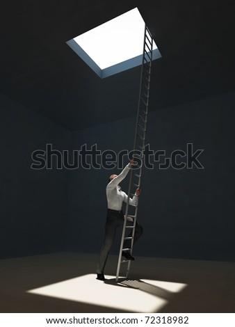 man escape from dark room - stock photo