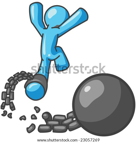 man escaping from a ball and chain, which can be a good concept on breaking from a contract, divorce, or escaping adversity.