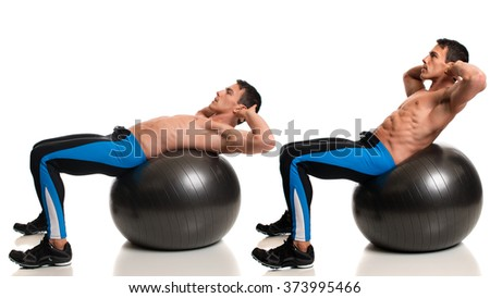 Man exercising with a stability ball. Studio composite over white. - stock photo