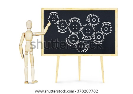 Man explains the mechanism unit. Abstract image with a wooden puppet - stock photo