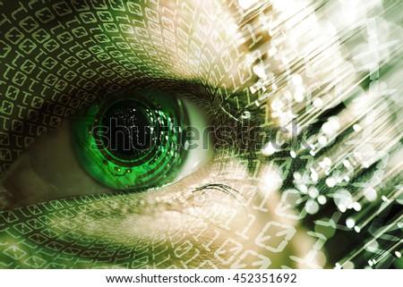 man eye and electronic circuit technology - stock photo