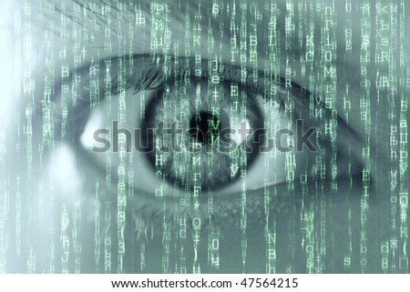 man eye and matrix texture
