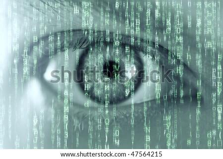 man eye and matrix texture - stock photo