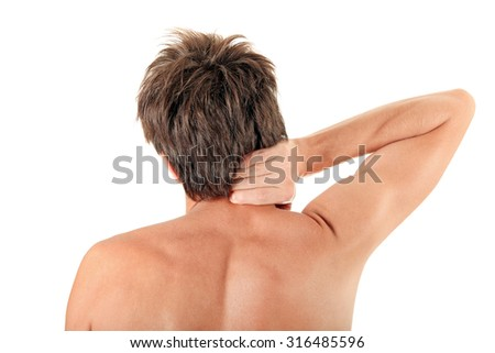 Man feel Neck ache Isolated on the White Background