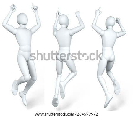 Man, figure jumping up in the air, caper, dido, illustration, rendering,  on white background