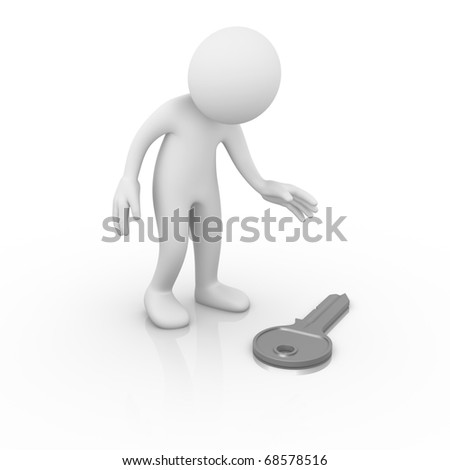 Man finding a key - stock photo