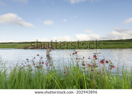 Man fishing for salmon in a beautiful surrounding, wildflowers in the foreground - stock photo