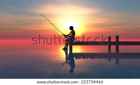 Man fishing on pier at sunset - stock photo