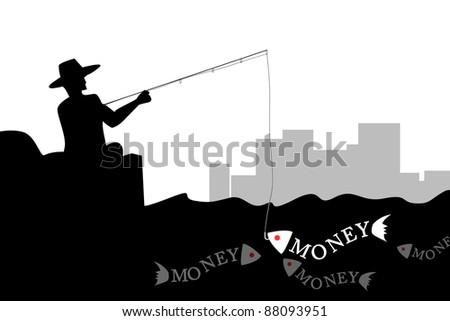 Man fishing the money fish in silhouette - stock photo
