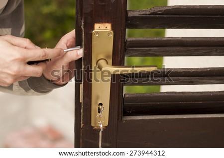 Man fixing door & Fixing Door Stock Photos Royalty-Free Images \u0026 Vectors - Shutterstock Pezcame.Com