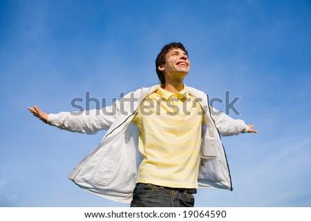 Man flies in sky - stock photo