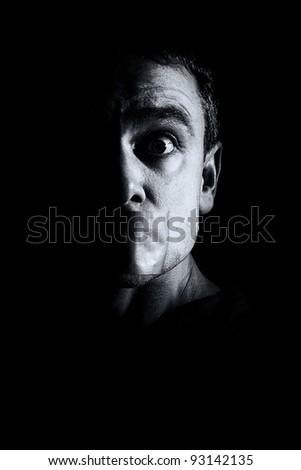Man gagged - film noir style - stock photo