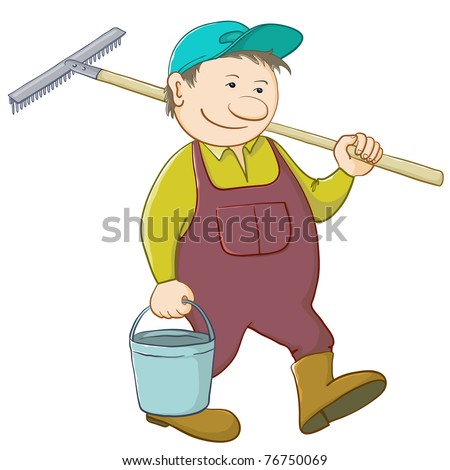 Man gardener with a bucket and a shovel goes to work in a garden - stock photo