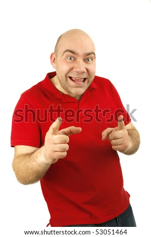 man gesture portrait isolated backgroung - stock photo