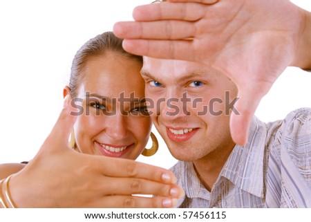 Man gesturing Hand frame - stock photo