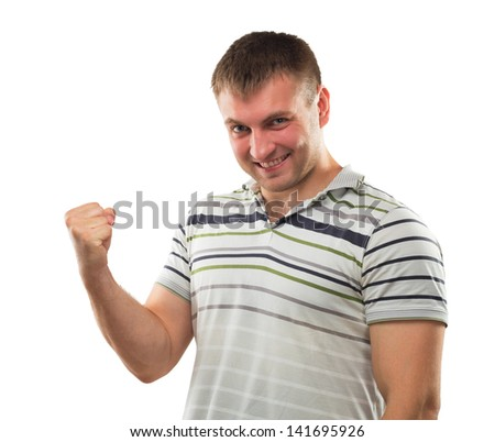 Man gesturing strong hand symbolizing his erection power - stock photo