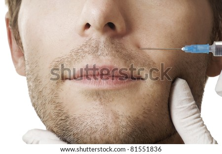 Man gets cosmetic injection. Beauty Treatment - stock photo
