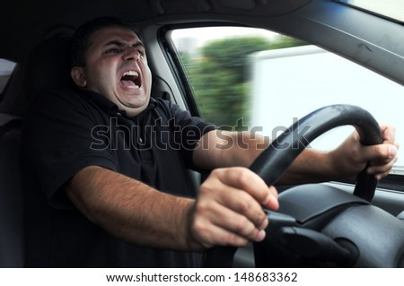 man gets in accident while driving car without seat belts - stock photo