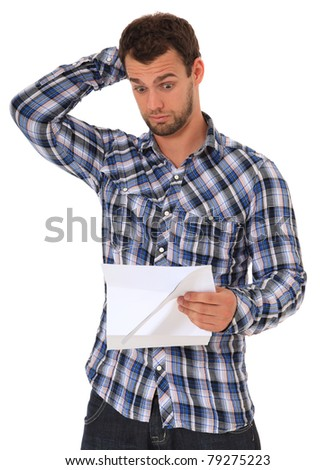 Man getting bad news. All on white background.