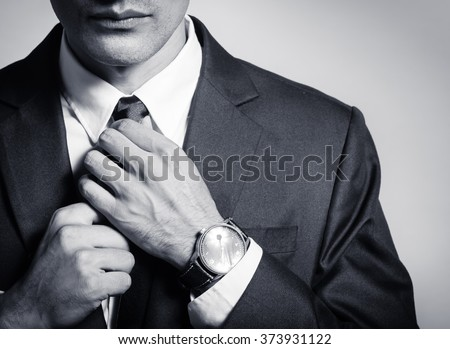 Man getting ready for work. - stock photo