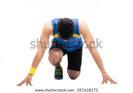 Man getting ready to run isolated on a white background - stock photo