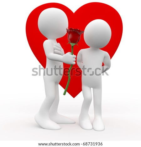 Man giving a woman a rose, a sign of love - stock photo