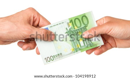 Man giving 100 euro to a woman, isolated on white - stock photo