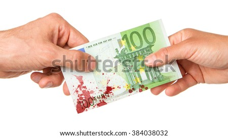 Man giving 100 euro to a woman, isolated on white, bloody