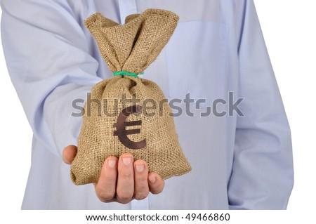 Man giving money bag with euro symbol - stock photo
