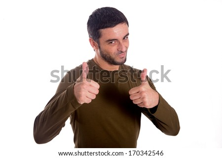 man giving the double thumbs-up hand gesture wearing a brown shirt on a white background