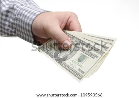 Man giving twenty dollar bill - stock photo