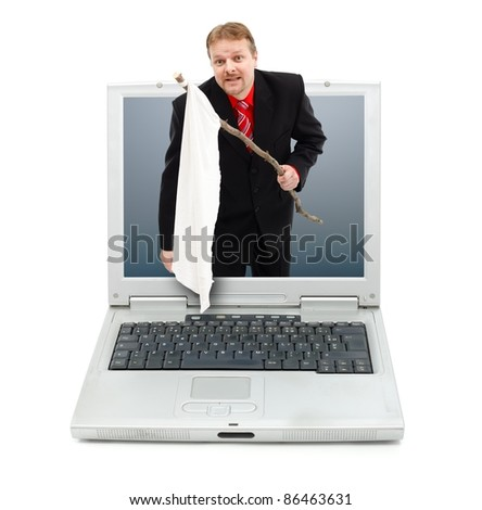 Man giving up himself by showing white flag from laptop computer