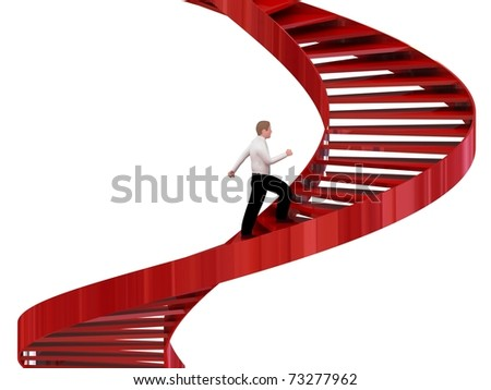 Man goes on the stairs - stock photo