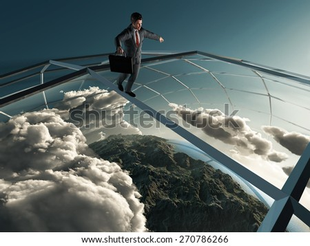 man goes over the planet  - stock photo