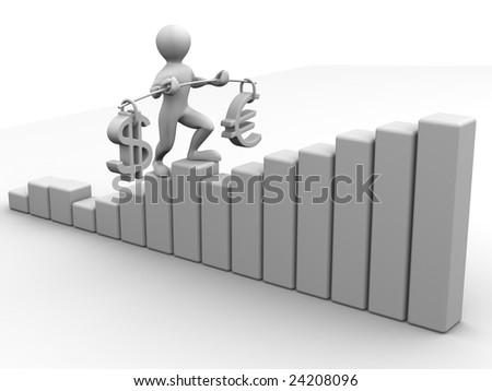 Man going to step schedule. Balance of dollar and euro. 3d