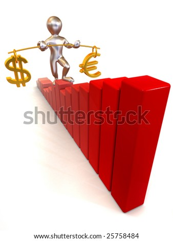 Man going to step schedule. Balance of dollar and euro. 3d - stock photo