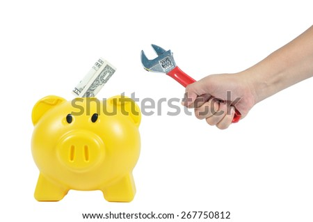 Man hand action with yellow piggy-bank, business concept - stock photo