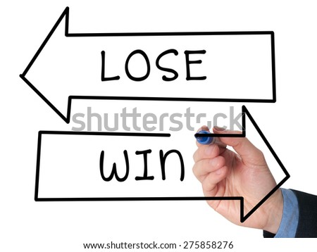 Man Hand drawing Win or Lose concept with white marker on visual screen. Business, technology concept. Stock Image - stock photo