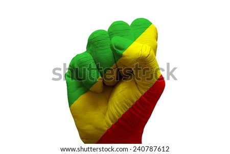 man hand fist painted country flag of congo - stock photo