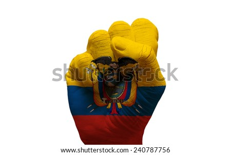 man hand fist painted country flag of ecuador - stock photo