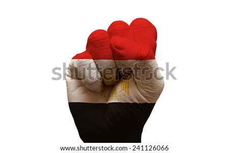 man hand fist painted country flag of egypt - stock photo