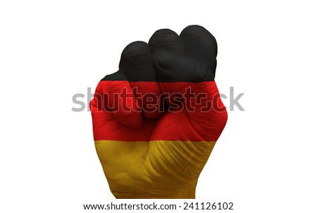 man hand fist painted country flag of germany - stock photo