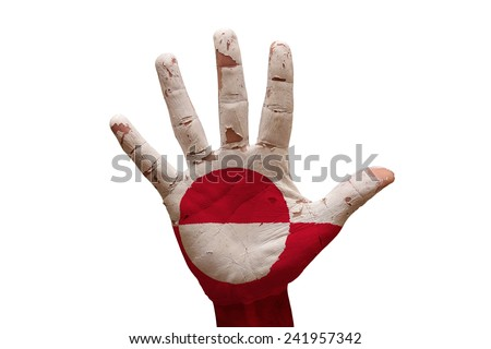 man hand fist painted country flag of greenland - stock photo