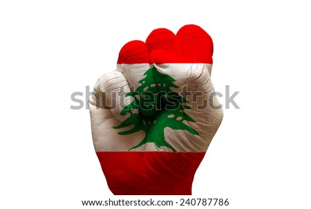 man hand fist painted country flag of lebanon - stock photo